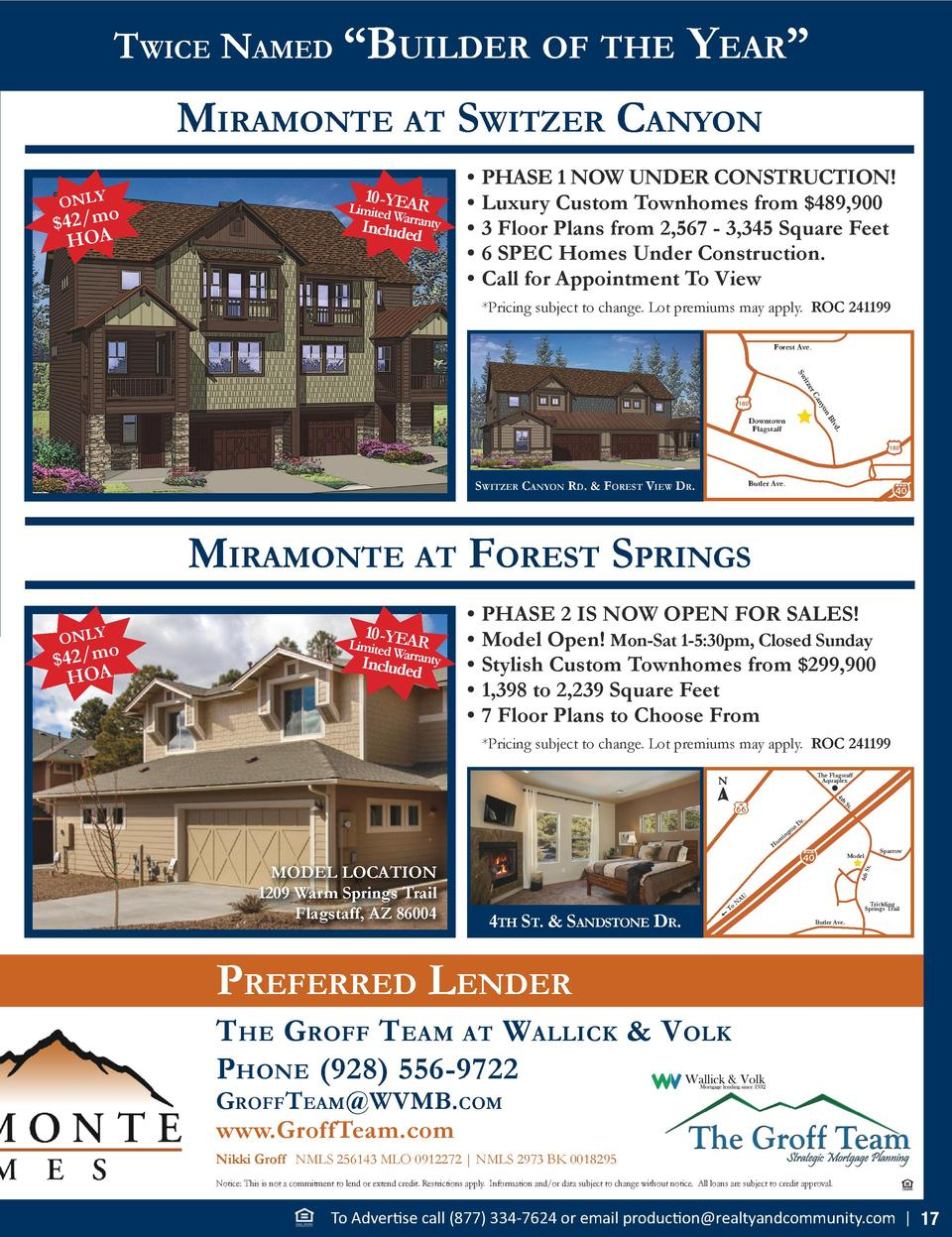 Twice Named    Builder of The  Year     miramoNTe aT swiTzer caNYoN ONLY   42 mo HOA  10 -YEA R  Limited Warranty In  clud...