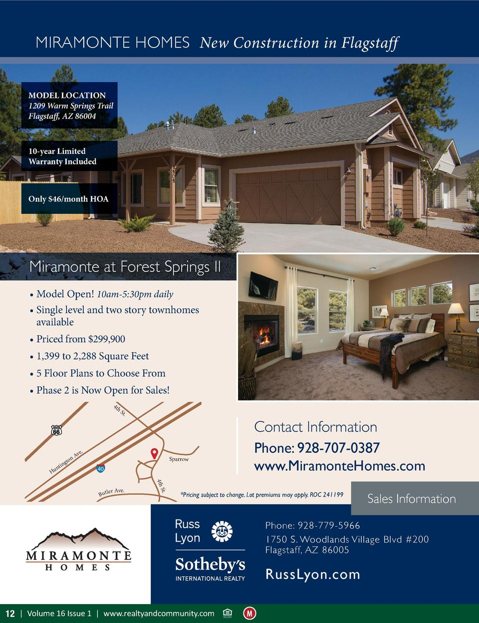 MIRAMONTE HOMES New Construction in Flagstaff MODEL LOCATION 1209 Warm Springs Trail Flagstaff, AZ 86004  10-year Limited ...