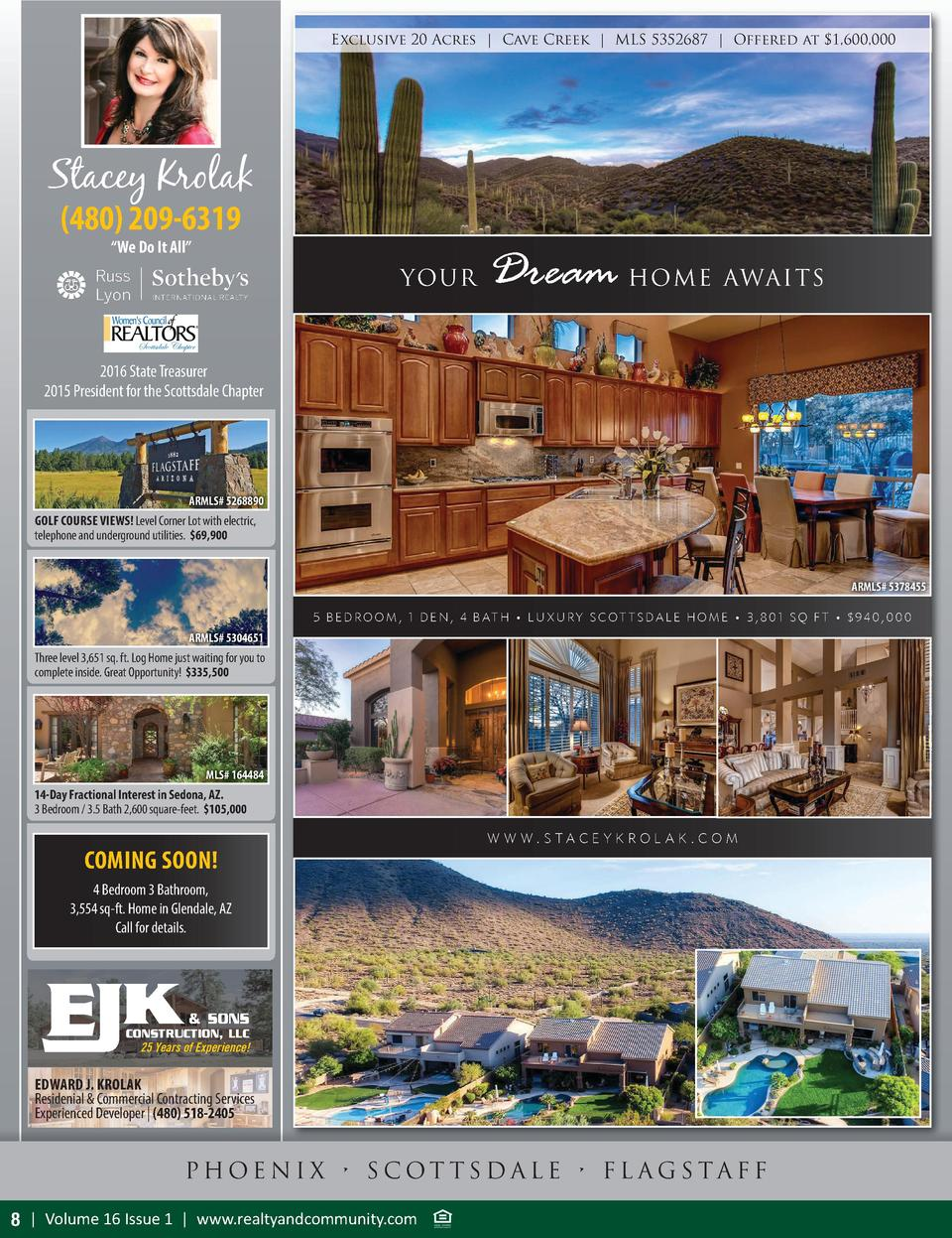 Exclusive 20 Acres   Cave Creek   MLS 5352687   Offered at  1,600,000  Stacey Krolak  480  209-6319    We Do It All     YO...