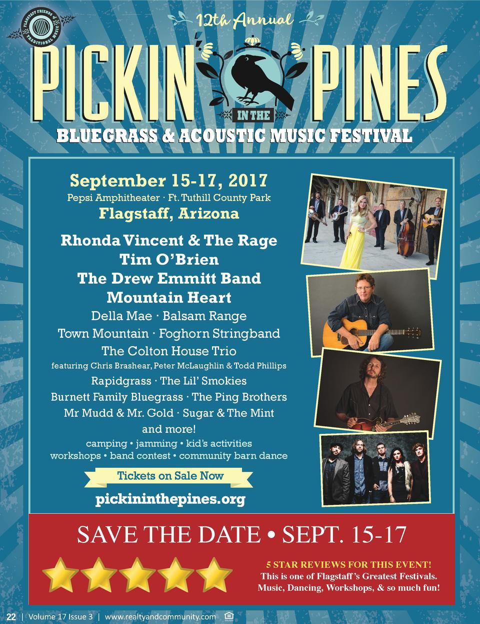 12th Annual  September 15-17, 2017 Pepsi Amphitheater     Ft. Tuthill County Park  Flagstaff, Arizona  Rhonda Vincent   Th...