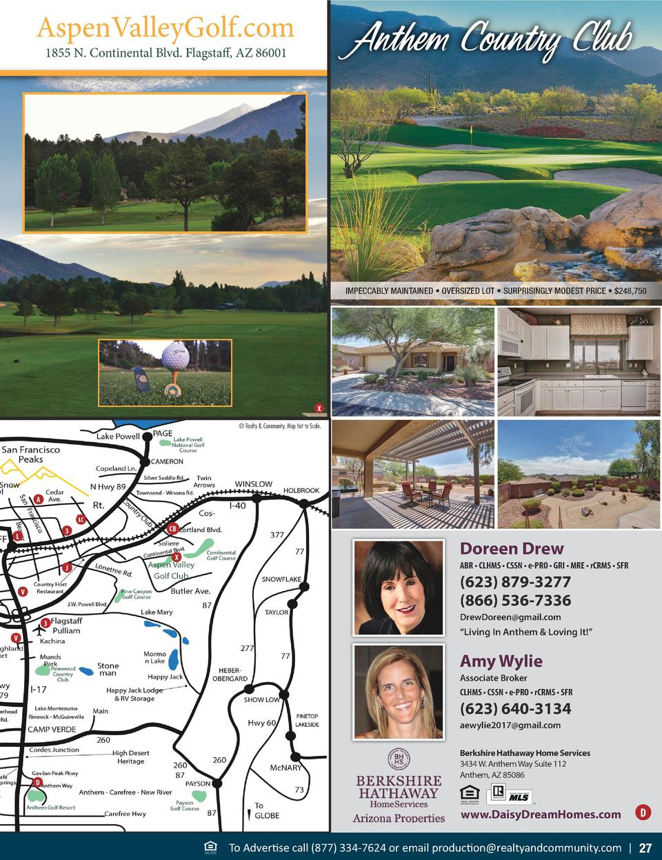 AspenValleyGolf.com  Anthem Country Club  1855 N. Continental Blvd. Flagstaff, AZ 86001  IMPECCABLY MAINTAINED     OVERSIZ...