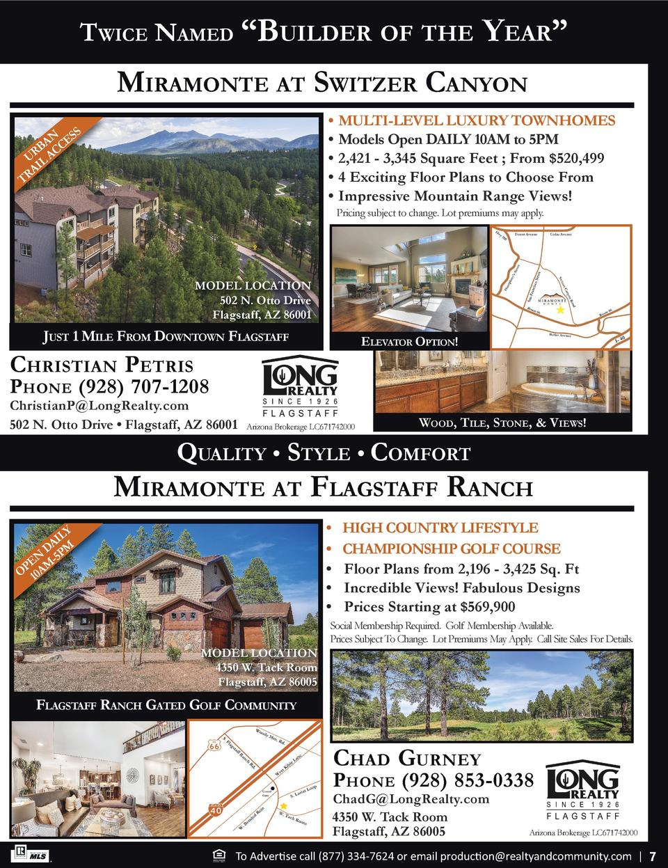 k  m  5  k  m  Twice Named    Builder of The  Year     miramoNTe aT swiTzer caNYoN     MULTI-LEVEL LUXURY TOWNHOMES     Mo...
