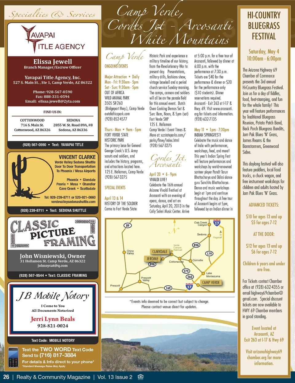 Camp Verde,  attractions, spec  Specialties   Services  Elissa Jewell  Branch Manager Escrow Officer  Yavapai Title Agency...