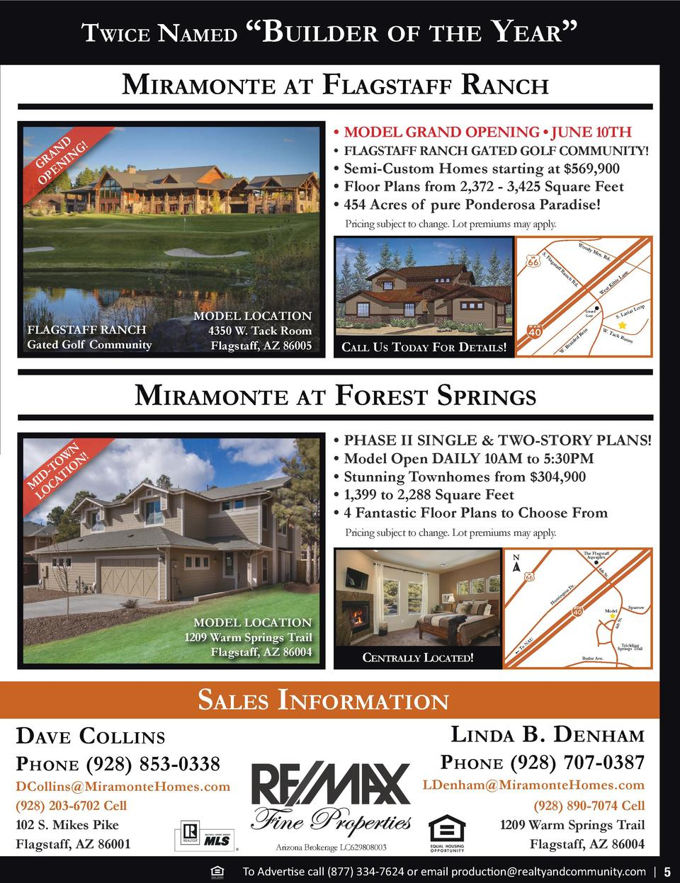 Twice Named    Builder of The  Year     miramoNTe aT flagsTaff raNch     MODEL GRAND OPENING     JUNE 10TH  D N G  A N GR ...