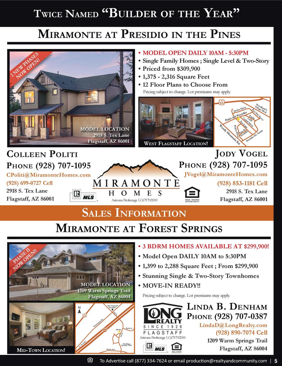 Twice Named    Builder of The  Year     miramoNTe aT Presidio iN The PiNes     MODEL OPEN DAILY 10AM - 5 30PM     Single F...
